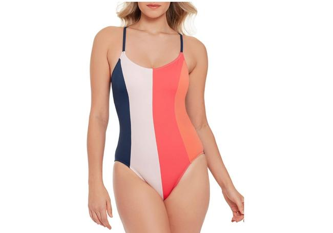 Time and Tru Multicolor Color Blocked Slimming Swimwear One-piece Bathing Suit Size 14 (L) Time and Tru Multicolor Color Blocked Slimming Swimwear One-piece Bathing Suit Size 14 (L) Image 1