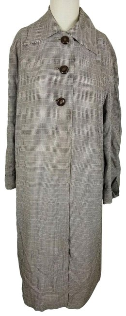 Item - Black All-state For All Weather Houndstooth Plaid Rain Long Maxi Coat Size 14 (L)