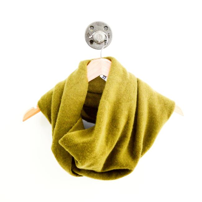 Item - Green Cashmere Twisted Snood #127-85 Scarf/Wrap