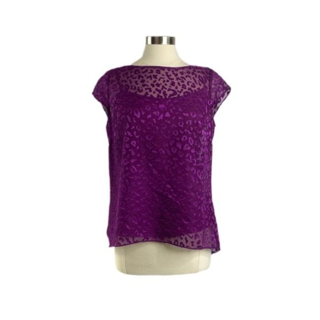 Item - Purple Whbm Embossed Leopard Print Blouse Size 8 (M)