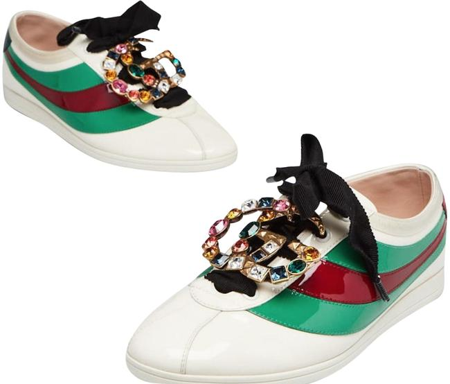 Item - White Patent Leather Falacer Crystal Gg 7.5/38 Sneakers Size US 7 Regular (M, B)