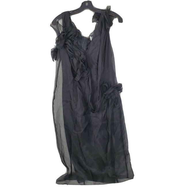 Tadashi Collection Black Ruffle Organza Mid-length Formal Dress Size 10 (M) Tadashi Collection Black Ruffle Organza Mid-length Formal Dress Size 10 (M) Image 1