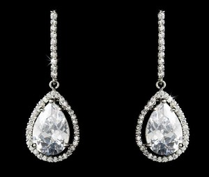 Elegance By Carbonneau Cz Drop Wedding And Formal Pierced Drop Earrings