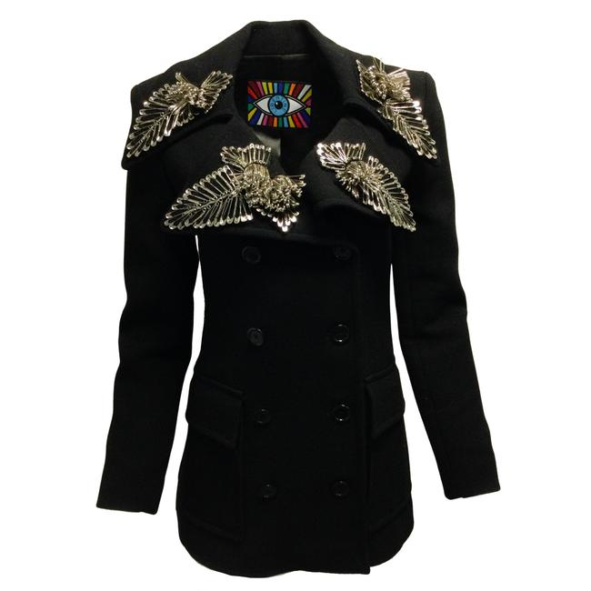 Item - Black Safety Pin Embellished Double Breasted Wool Blazer Size 4 (S)
