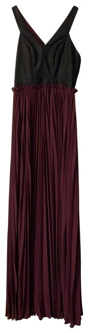 Item - Black and Plum Faux Leather Long Formal Dress Size 4 (S)