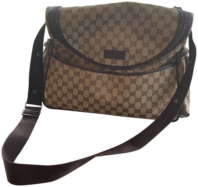 Item - Dark Cross-body with Leather Trim Brown Gg Canvas Diaper Bag