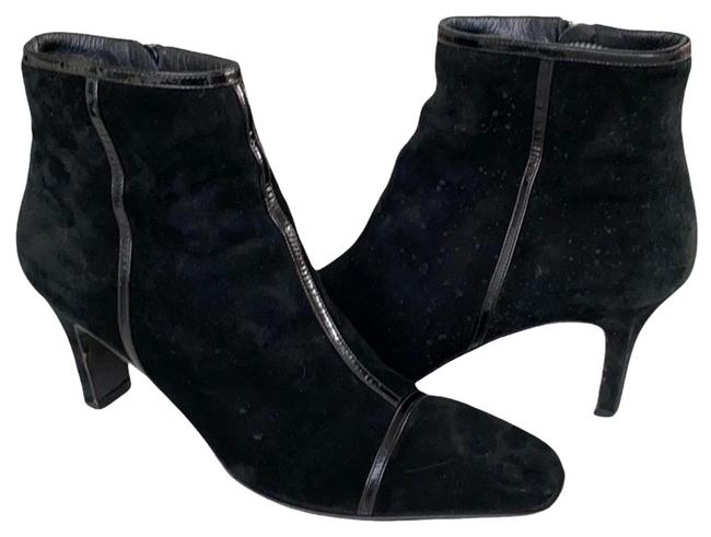 Item - Black Kitten Heel Suede Patent Boots/Booties Size US 7.5 Regular (M, B)