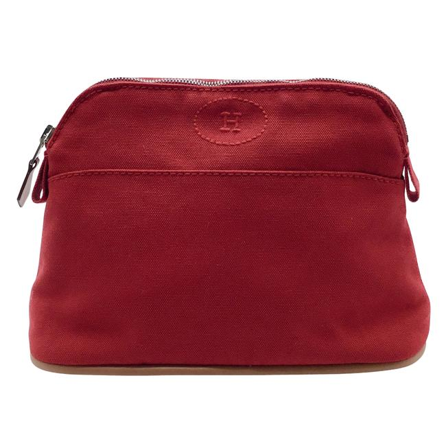 Item - Red Bored Canvas Cosmetic Bag