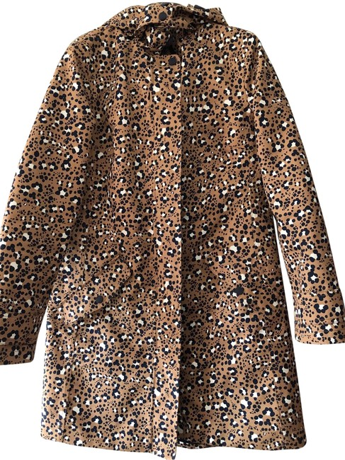 Item - Tan with Navy and White Leopard Waterhouse Jacket Coat Size 4 (S)