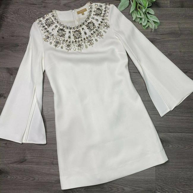 Item - White Crystal Puka-shell Slit-sleeve Modern Wedding Dress Size 2 (XS)
