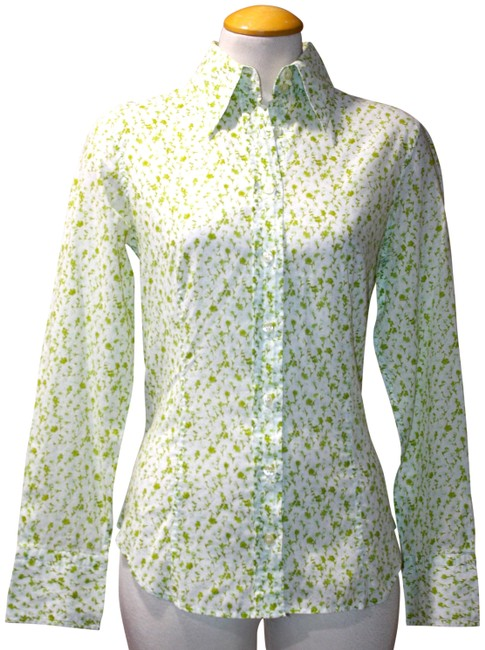 Item - Green White & Cotton Shirt Small Button-down Top Size 4 (S)