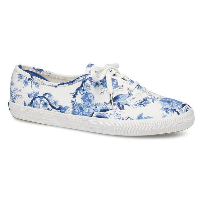 Keds White and Blue New Floral Toile Champion Tennis Women Sneakers Size US 7 Regular (M, B) Keds White and Blue New Floral Toile Champion Tennis Women Sneakers Size US 7 Regular (M, B) Image 1