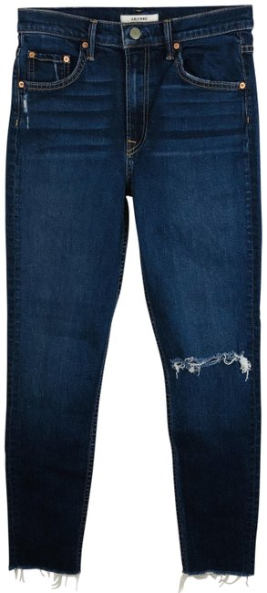 Item - Blue Dark Rinse Kendall High Wash In Marbled Capri/Cropped Jeans Size 25 (2, XS)