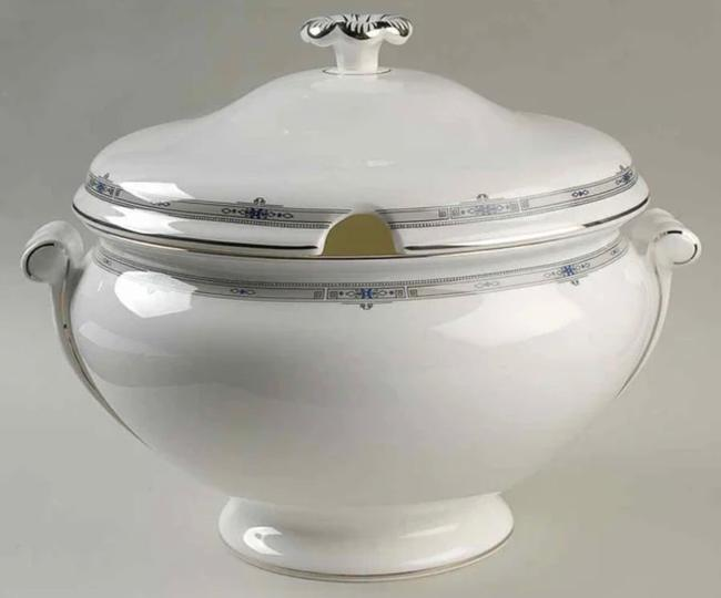 Item - White Platinum Blue Black and Gray Tureen & Lid Amherst Trim) By Fine China