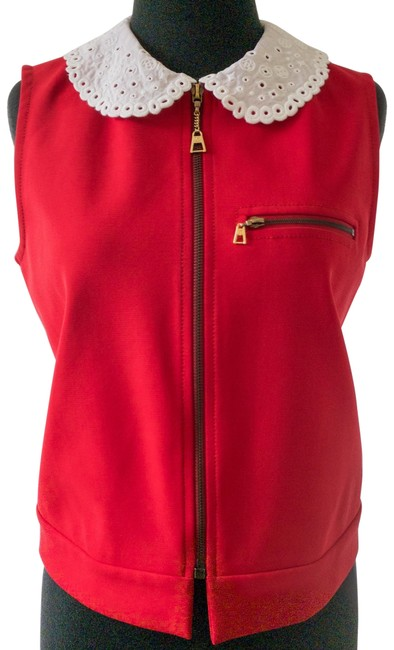 Item - Red Zip Up White Eyelet Collar Vest Size 8 (M)