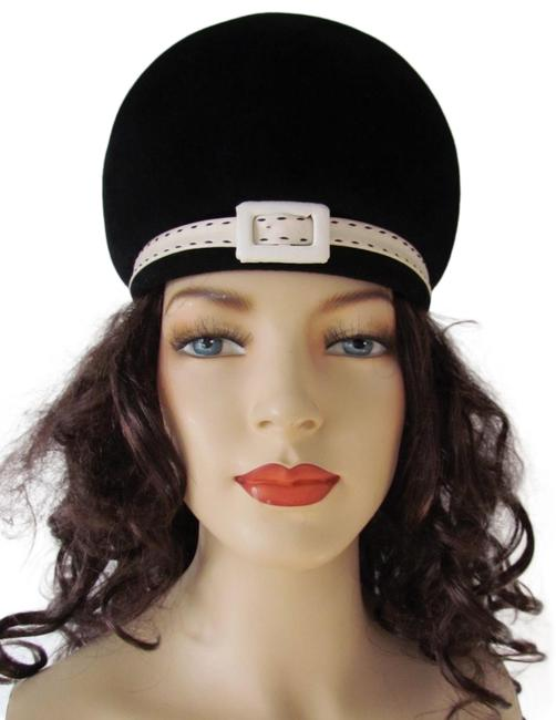 Item - Black & White Vintage 60's Mod Wool Felt Leather Trim Buckle Italy Hat