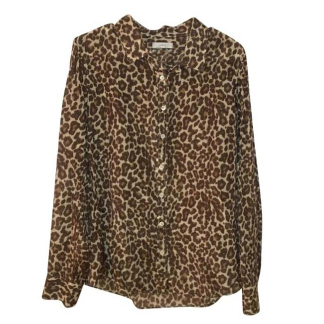 Item - Brown Perfect Shirt In Leopard Animal Print Button-down Top Size 4 (S)