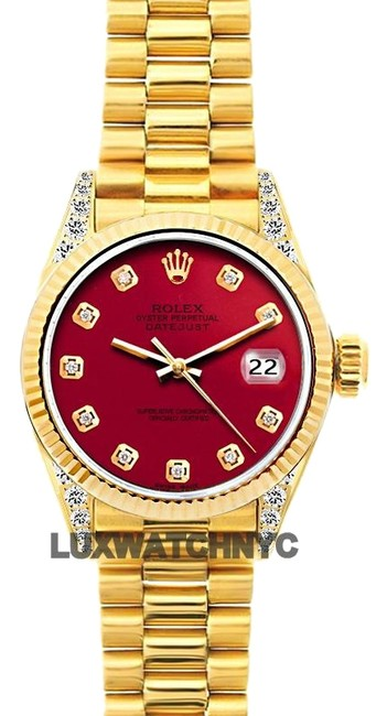 Item - Red Dial 26mm Ladies 18k Gold Presidential with Appraisal Watch