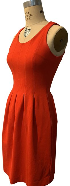 Item - Red Orange Knit Mid-length Short Casual Dress Size 4 (S)
