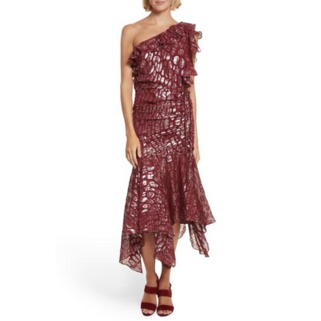 Item - Red/Silver Leighton Silk Blend 1-shoulder Midi Mid-length Cocktail Dress Size 2 (XS)