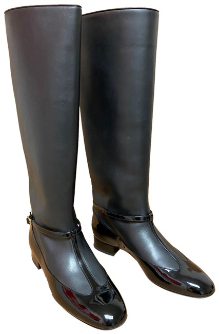 Item - Black Leather Knee-high Boots/Booties Size EU 40 (Approx. US 10) Regular (M, B)