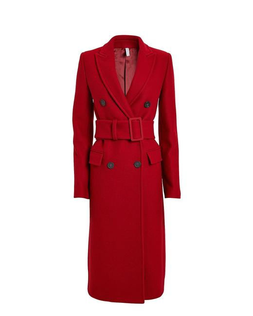 Item - Red Melton Wool Double Breasted Coat Size 2 (XS)