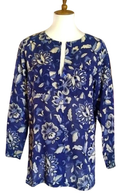 Item - Blue and Cream Floral Linen Tunic Size 8 (M)