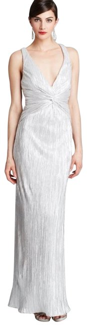 Item - Silver Cross Back Gown Pleated Foil Long Formal Dress Size 8 (M)