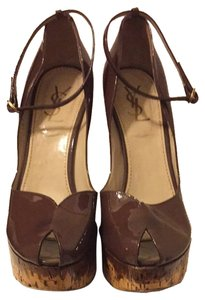 Saint Laurent Patent Leather Brown Wedges