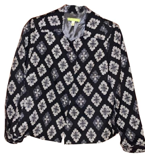 Item - Black Floral with Fabric Buttons Jacket Size 6 (S)