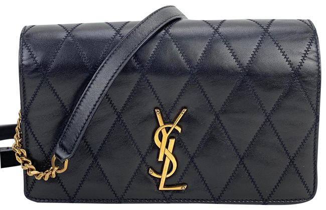 Item - Angie Diamond-quilted Chain B240 Black Lambskin Leather Shoulder Bag