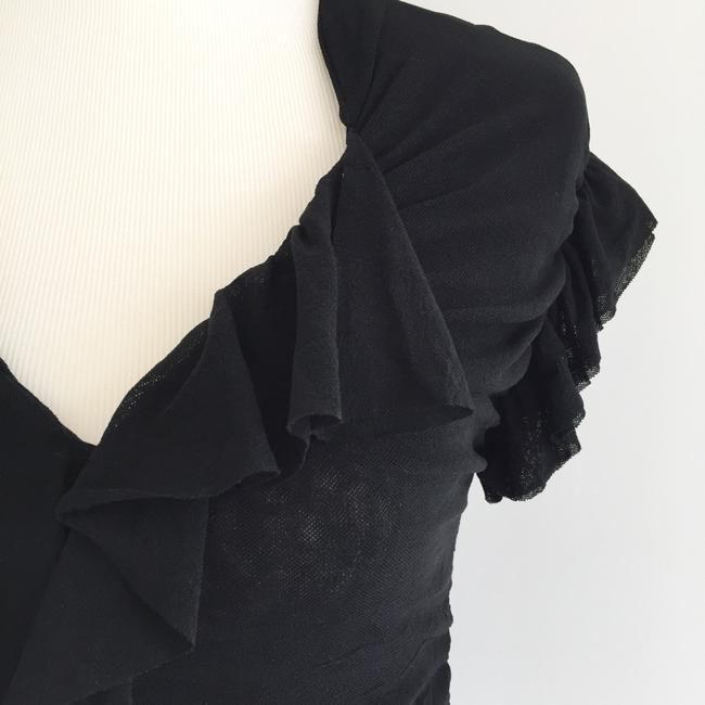 Sweet Pea by Stacy Frati Ruffle Mesh V-neck Top Black