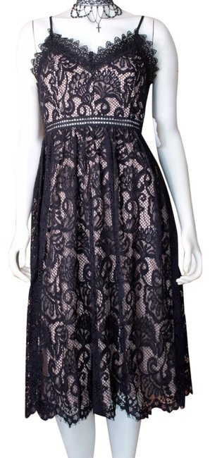 Item - Black | Lace Overlay A-line Midi Mid-length Cocktail Dress Size 6 (S)