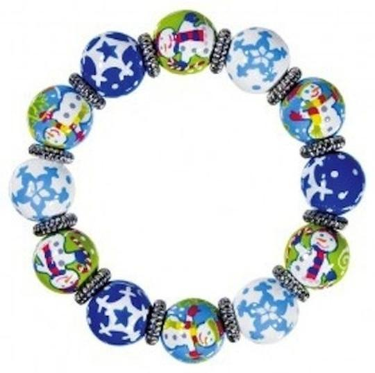 Angela Moore Angela Moore Classic Hand Painted Bracelet - Snappy Snowmen