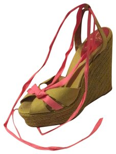Christian Louboutin Green And Pink Wedges
