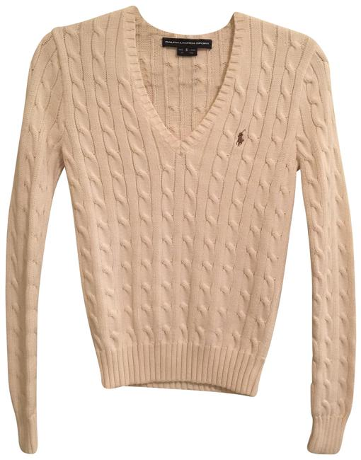 Item - Cable-knit V-neck Cotton Cream/Off-white Sweater