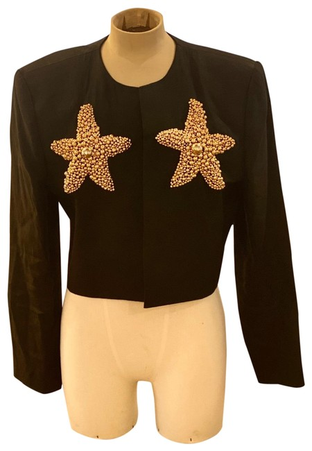 Item - Cropped Linen Jacket with Gold Color Beaded Stars Black & Gol Top