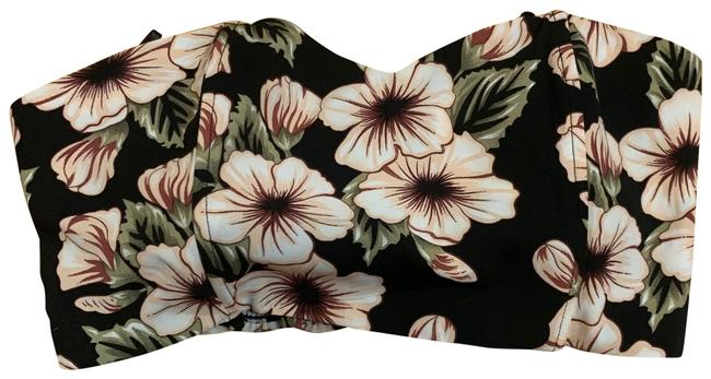 Item - Black Cream Floral Strapless Crop Tank Top/Cami Size 6 (S)