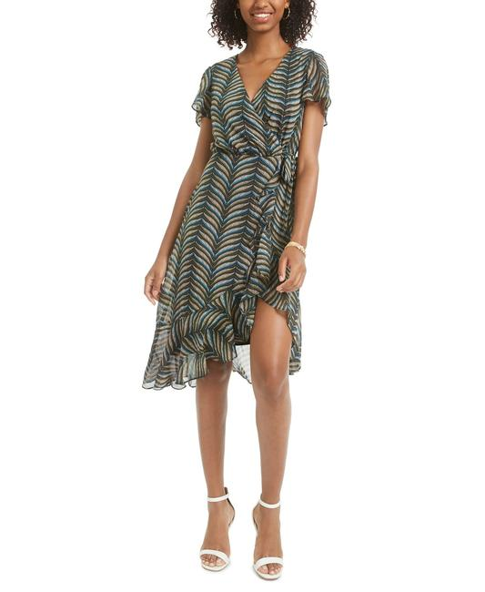 Item - Black/Hunter Green Juniors' Printed Faux-wrap Mid-length Cocktail Dress Size 2 (XS)