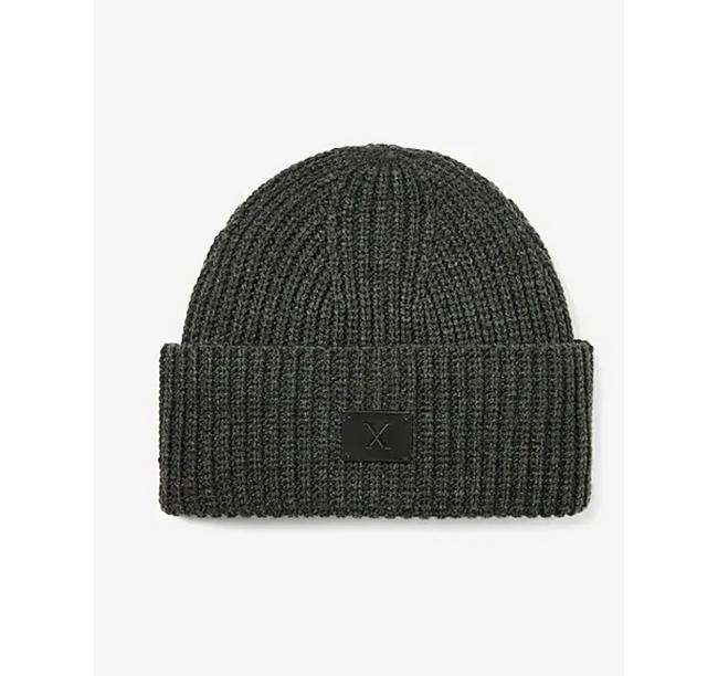 Item - Gray Ribbed Knit Turn Back Beanie Hat