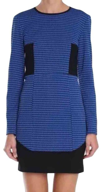 Tibi Blue and Black Houndstooth Print Short Work/Office Dress Size 0 (XS) Tibi Blue and Black Houndstooth Print Short Work/Office Dress Size 0 (XS) Image 1