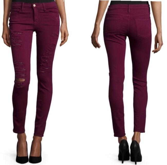 FRAME Burgundy Distressed Le Sz. 27 Skinny Jeans Size 6 (S, 28) FRAME Burgundy Distressed Le Sz. 27 Skinny Jeans Size 6 (S, 28) Image 1