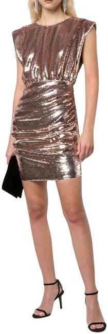 Item - Gold Rose Allover Sequin Draped Extended Shoulders Lithe Sleeve Style#mn1e204944 Short Cocktail Dress Size 6 (S)
