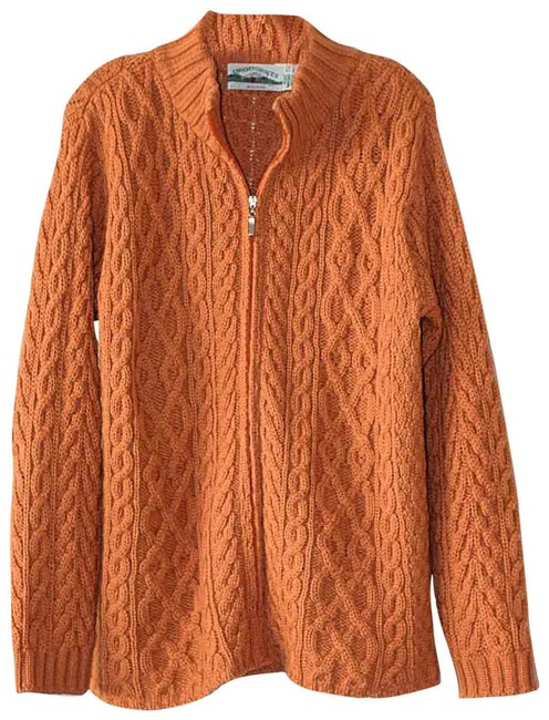 Item - Pumpkin Burnt Orange Chunky Cable Knit Made In Ireland Cardigan Size 6 (S)