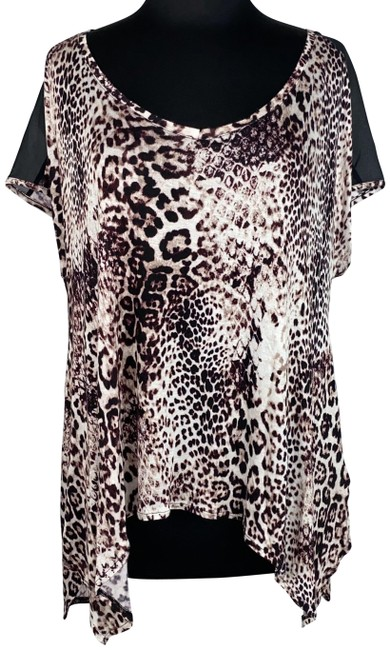 Item - Multicolor Jennifer Lopez M Animal Print Patterned Partially Sheersleeves Blouse Size 10 (M)