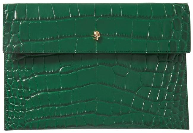 Item - Skull Envelope Pouch Green Leather Clutch