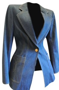 Escada Blue Denim Fitted Denim Blue Blazer