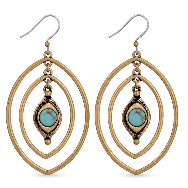 Item - Gold Blue Dangle French Wire Earrings