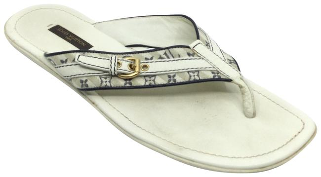 Item - White/ Navy White/ Monogram Fabric and Leather Sandals Size US 10 Regular (M, B)