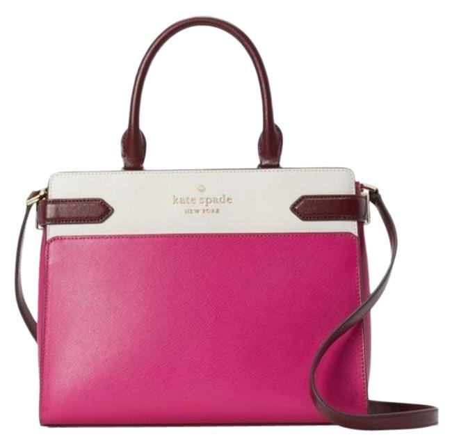 Item - Staci Colorblock Pink White Leather Satchel